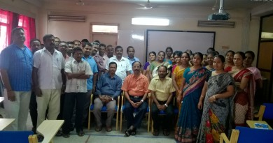 (From left): Arokia Das, programme co-ordinator, Dr N N Prahallada of RIE, Mysuru and George Fernandes, Pedagogy co-ordinator, SSA Puducherry and mathematics teachers at the A V Hall of the Directorate of School Education complex in Puducherry.