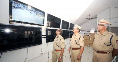 City Police Commissioner B Dayananda, DCP  N D Birje & ACP Madaiah seen viewing the CCTV footages streamed vantage points in the city