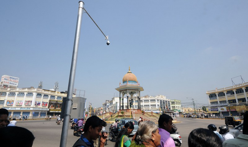 K R Cricle, the hub of activities in the Central Business District is monitored with CCTV Camera