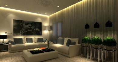 Creative-Family-Room-Schemes-Implementing-Fresh-Planters-near-Apart-Sofas-Brightened-by-Living-Room-Lighting