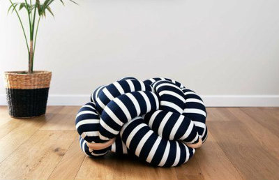 White and Dark Blue Stripes Knot Floor Cushion