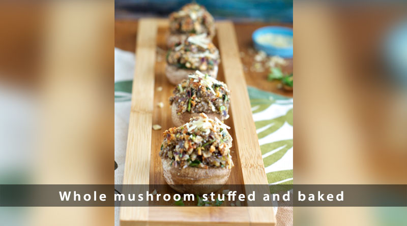 Whole mushroom stuffed and baked