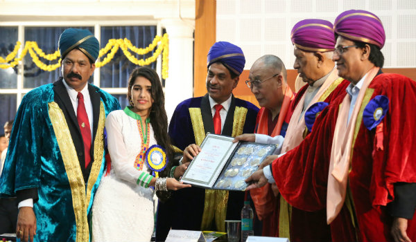 Neha Saran an M.Sc chemistry student has topped in science and technology stream with 16 medals and four cash prizes.