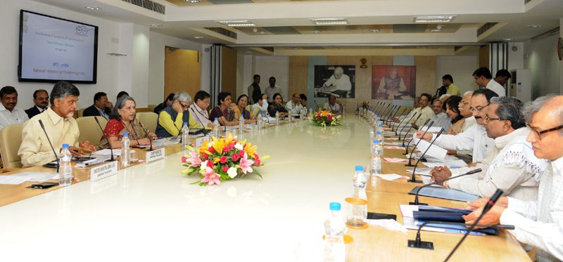 The Chief Minister of Andhra Pradesh, Shri N. Chandrababu Naidu chairing the first meeting of the Sub-Group of Chief Ministers on Swachh Bharat Abhiyaan, at NITI Aayog, in New Delhi on April 30, 2015. The Chief Ministers of Karnataka, Shri Siddaramaiah and the Chief Ministers of Haryana, Shri Manohar Lal Khattar are also seen.