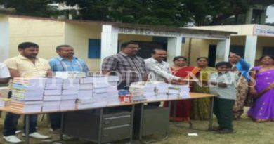 Books and writing materials distributed to children