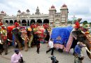 Traditional welcome for Dasara elephants at Mysore Palace