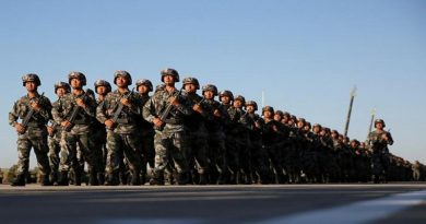 Soldiers arrive for a military parade to commemorate the 90th anniversary of the foundation of China's People's Liberation Army (PLA)  at the Zhurihe military training base in Inner Mongolia Autonomous Region, China, July 30, 2017. REUTERS/Stringer ATTENTION EDITORS - THIS IMAGE WAS PROVIDED BY A THIRD PARTY. CHINA OUT. NO COMMERCIAL OR EDITORIAL SALES IN CHINA. - RTS19Q6P