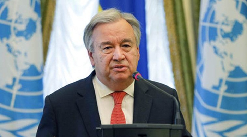 """FILE - In this Sunday, July 9, 2017, file photo, United Nation Secretary-General Antonio Guterres speaks during a joint press conference with Ukrainian President Petro Poroshenko in Kiev, Ukraine. Guterres will make his first visit to Israel and the Palestinian territories as U.N. secretary-general later this month for a firsthand look at a conflict that has been on the front burner of the United Nations for 70 years. The Palestinian ambassador to the United Nations, Riyad Mansour, said Tuesday, Aug. 8 that the trip """"comes at a critical time in which there are attacks against the two-state solution,"""" which would see an independent Palestinian state existing side-by-side with Israel in peace.  (AP Photo/Efrem Lukatsky, File)"""